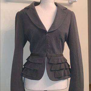 Ruffle Peplum Fitted Jacket